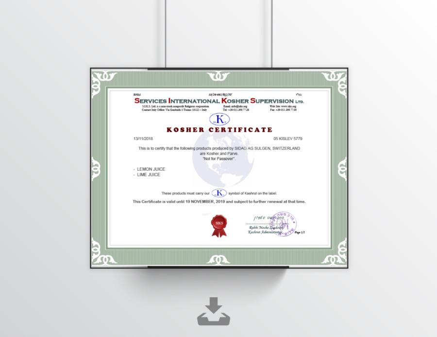 Zertifikat Koscher